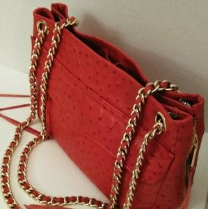Rebecca Minkoff Swing Red Ostrich Embossed Leather